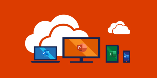 Image of a computer, tablet, and cellphone with Office 365 products on it.